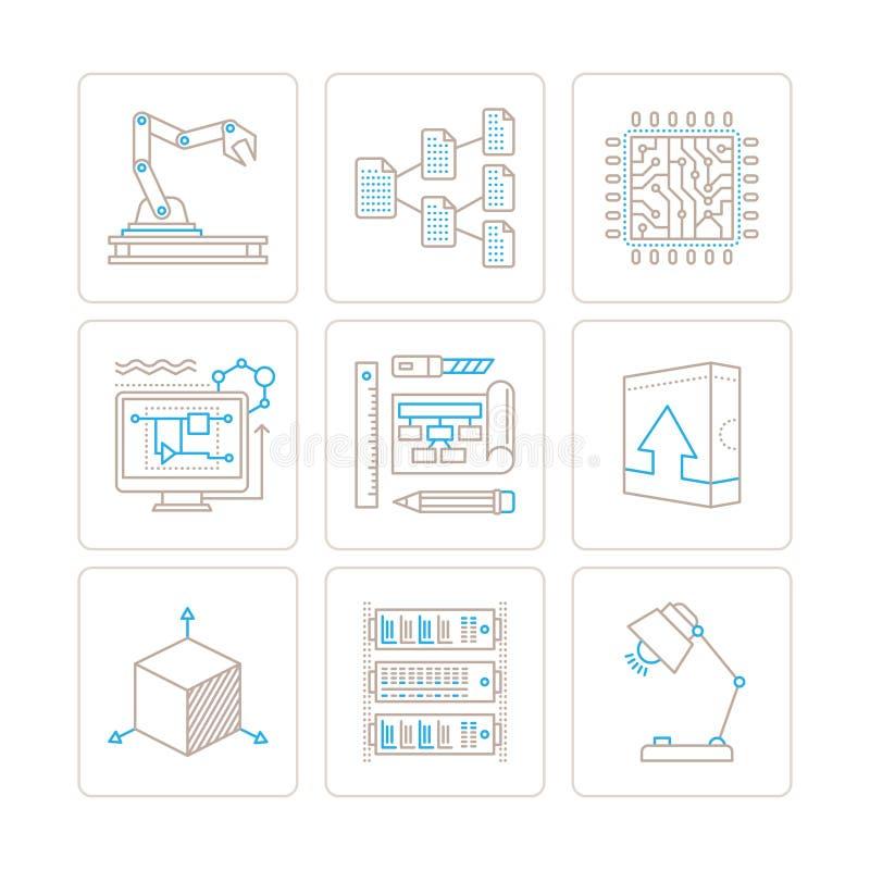 Σύνολο διανυσματικών εικονιδίων και εννοιών τεχνολογίας στο μονο λεπτό ύφος γραμμών διανυσματική απεικόνιση