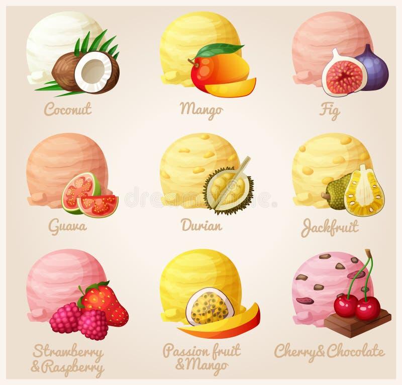 Σύνολο διανυσματικών εικονιδίων κινούμενων σχεδίων Καρύδα, μάγκο, σύκο, γκοϋάβα, durian, jackfruit, φράουλα και σμέουρο ελεύθερη απεικόνιση δικαιώματος