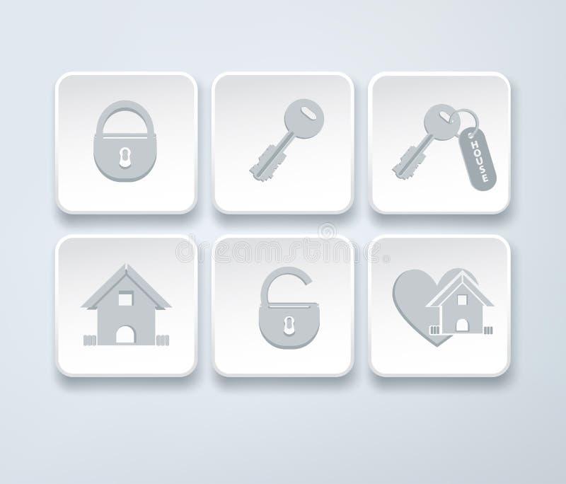 Σύνολο διανυσματικών εικονιδίων με το μικρό σπίτι, βασική, ανοικτή, κλειστή κλειδαριά διανυσματική απεικόνιση