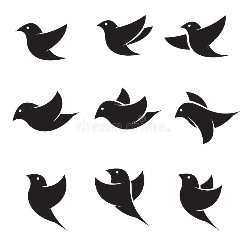 Σύνολο διανυσματικών εικονιδίων πουλιών διανυσματική απεικόνιση