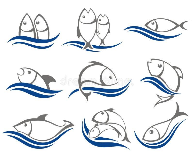 Σύνολο διανυσματικών εικονιδίων ψαριών διανυσματική απεικόνιση