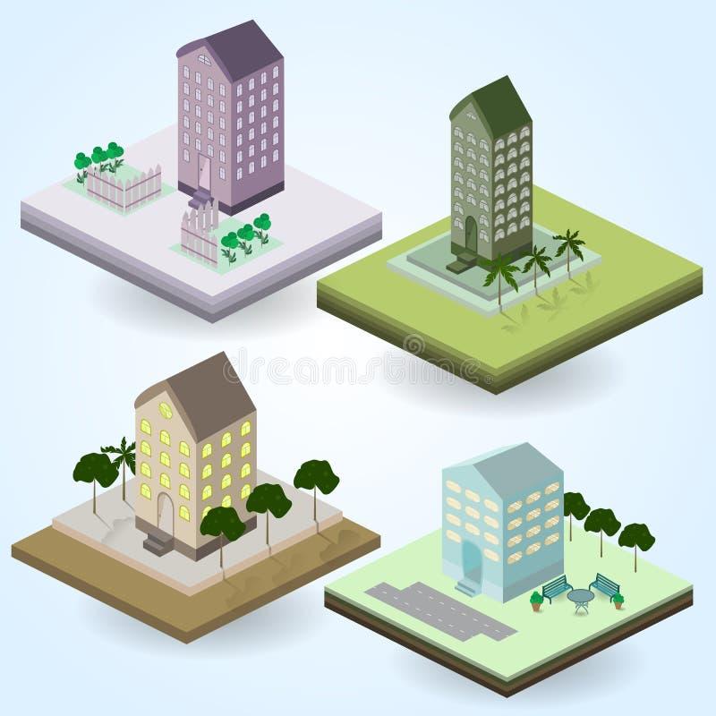 Σύνολο διανυσματικών εικονιδίων isometric στο θέμα πόλεων στοκ εικόνες
