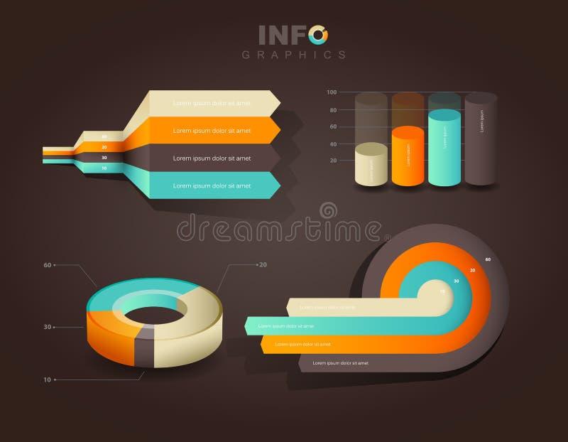 Σύνολο διανυσματικών επίπεδων στατιστικών infographics σχεδίου απεικόνιση αποθεμάτων