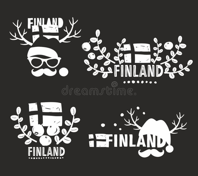 Σύνολο διανυσματικών ετικετών της Φινλανδίας διανυσματική απεικόνιση