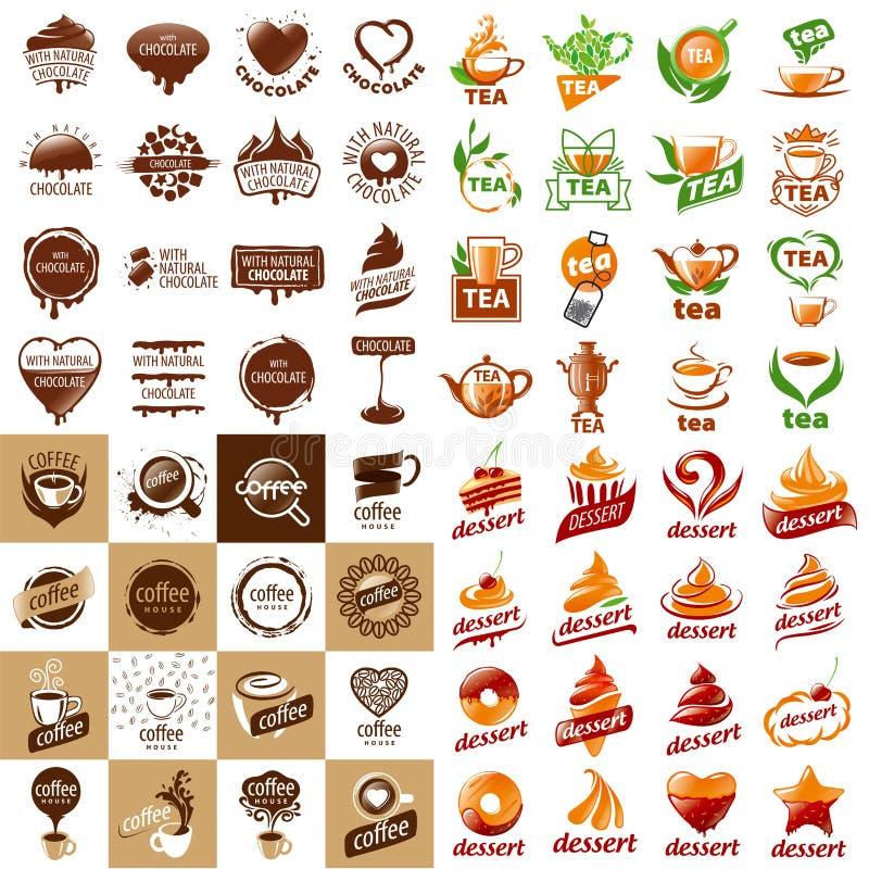 Σύνολο διανυσματικών ζεστών ποτών και επιδορπίων λογότυπων απεικόνιση αποθεμάτων