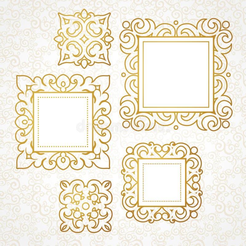 Σύνολο διανυσματικών διακοσμητικών πλαισίων στο βικτοριανό ύφος διανυσματική απεικόνιση