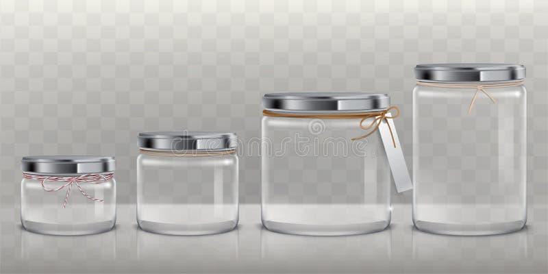Σύνολο διανυσματικών διαφανών βάζων γυαλιού για την αποθήκευση των τροφίμων, κονσερβοποίηση και συντήρηση, διανυσματική απεικόνιση