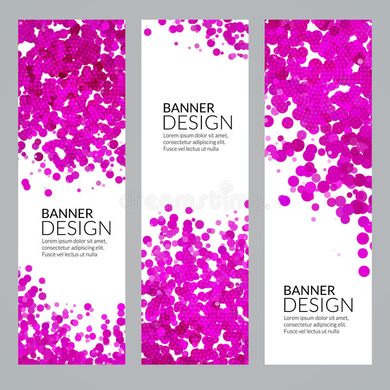 Σύνολο διανυσματικών κάθετων προτύπων εμβλημάτων αφισών με το ρόδινο παφλασμό χρωμάτων προσομοίωσης Watercolor σημείων αφηρημένη  ελεύθερη απεικόνιση δικαιώματος