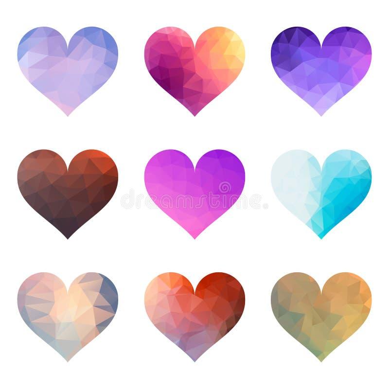 Σύνολο διανυσματικών καρδιών πολυγώνων ελεύθερη απεικόνιση δικαιώματος