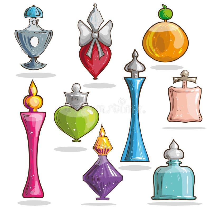 Σύνολο διανυσματικών κομψών μπουκαλιών γυαλιού με τα αρώματα ελεύθερη απεικόνιση δικαιώματος