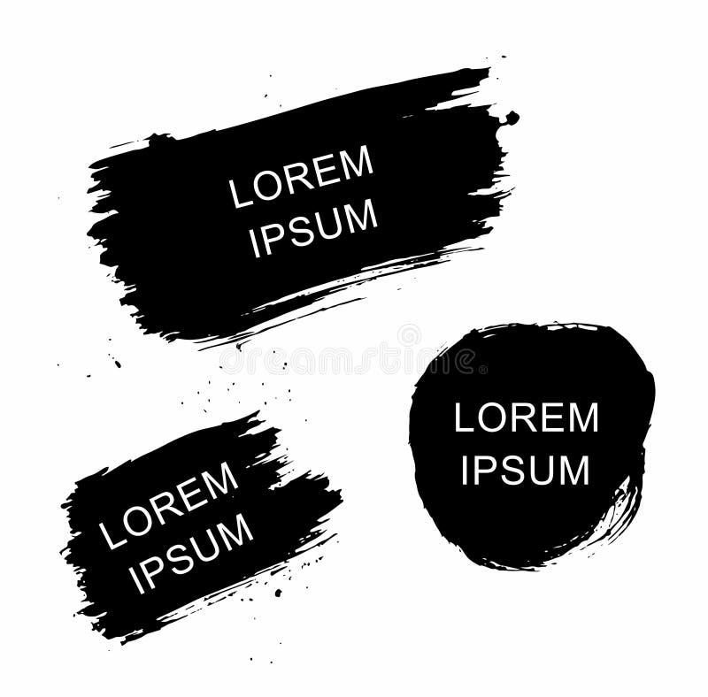 Σύνολο διανυσματικών κτυπημάτων βουρτσών μελανιού grunge Εικονίδιο, λογότυπο, στοιχεία σχεδίου απεικόνιση αποθεμάτων