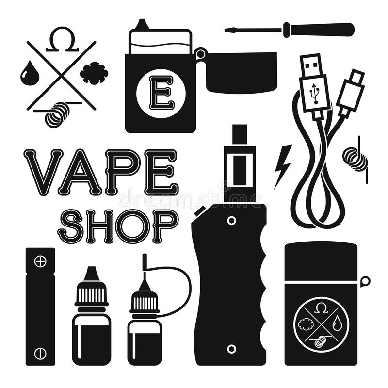 Σύνολο διανυσματικών μαύρων εικονιδίων σκιαγραφιών για το κατάστημα vape ελεύθερη απεικόνιση δικαιώματος
