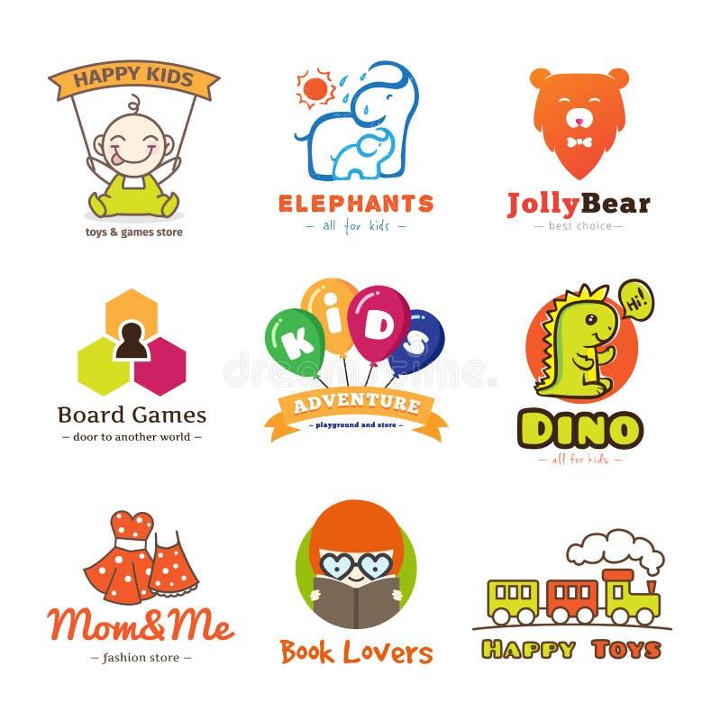 Σύνολο διανυσματικών λογότυπων αγαθών παιδιών ελεύθερη απεικόνιση δικαιώματος