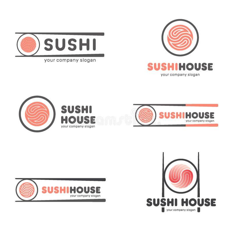 Σύνολο διανυσματικών λογότυπων για τα σούσια Σχέδιο λογότυπων για τα εστιατόρια των ιαπωνικών τροφίμων απεικόνιση αποθεμάτων