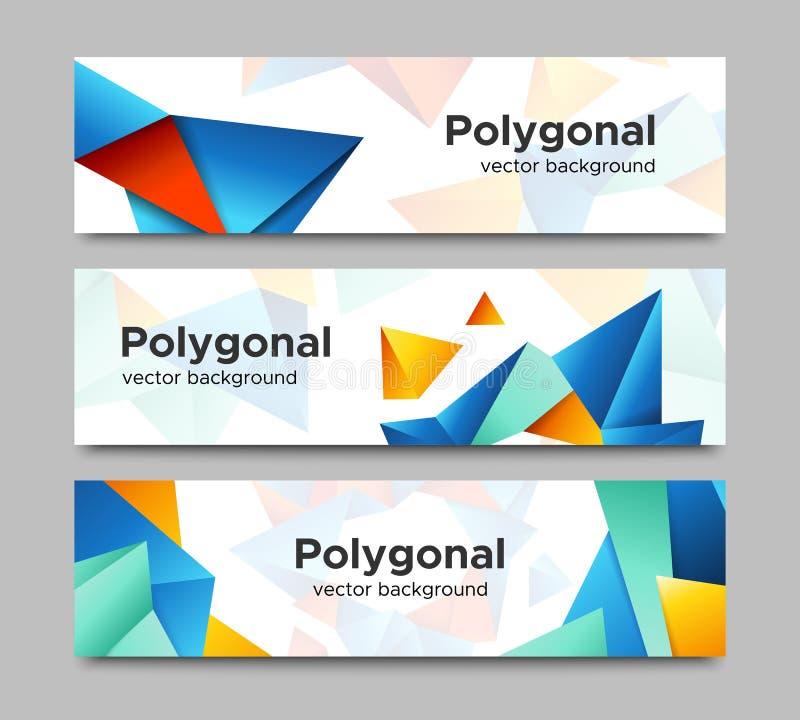 Σύνολο διανυσματικών οριζόντιων polygonal εμβλημάτων απεικόνιση αποθεμάτων