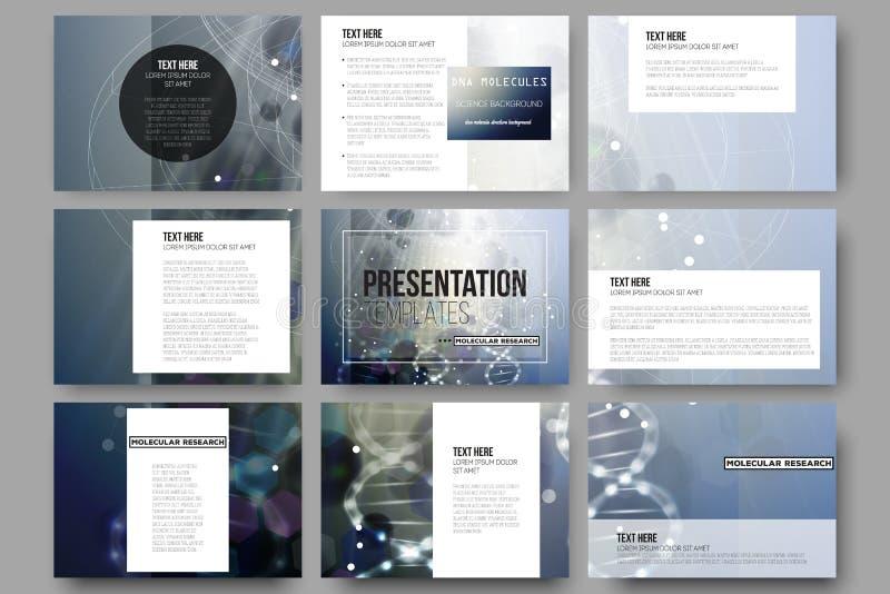 Σύνολο 9 διανυσματικών προτύπων για τις φωτογραφικές διαφάνειες παρουσίασης Δομή μορίων DNA σε ένα μπλε υπόβαθρο ελεύθερη απεικόνιση δικαιώματος