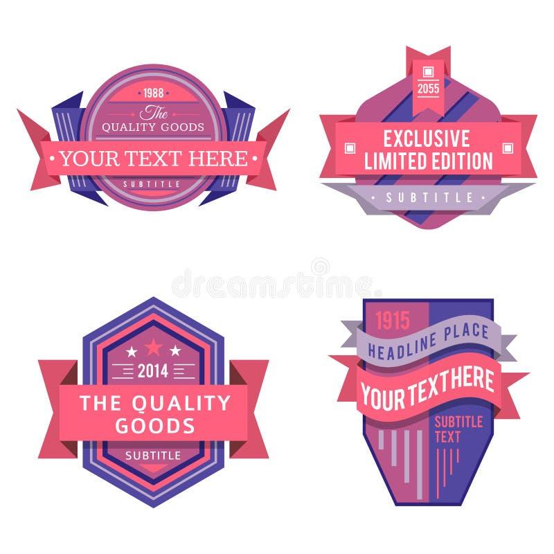 Σύνολο διανυσματικών ρόδινων αναδρομικών ετικετών λογότυπων και εκλεκτής ποιότητας εμβλημάτων ύφους διανυσματική απεικόνιση