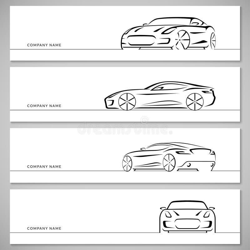 Σύνολο διανυσματικών σκιαγραφιών αθλητικών αυτοκινήτων, περιλήψεις, περιγράμματα ελεύθερη απεικόνιση δικαιώματος