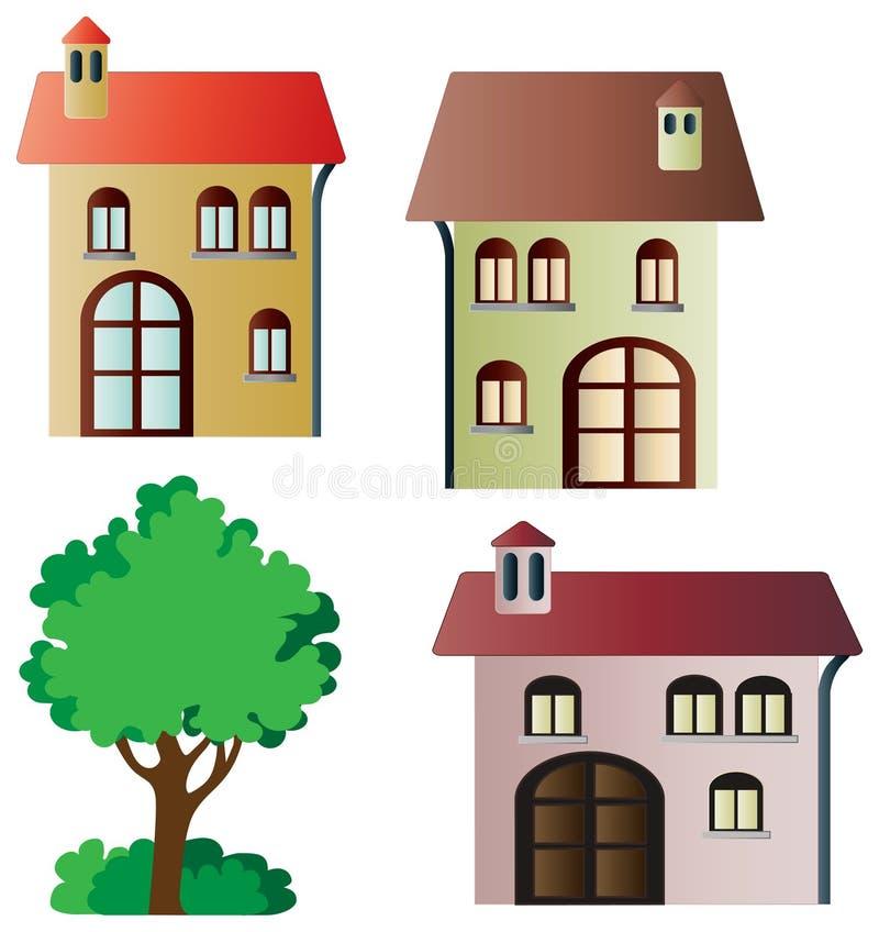 Σύνολο διανυσματικών σπιτιών και δέντρου ελεύθερη απεικόνιση δικαιώματος