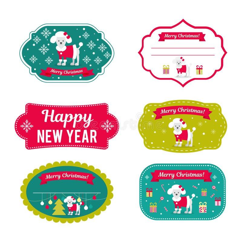 Σύνολο διανυσματικών στοιχείων για τα Χριστούγεννα και το νέο σχέδιο έτους ελεύθερη απεικόνιση δικαιώματος