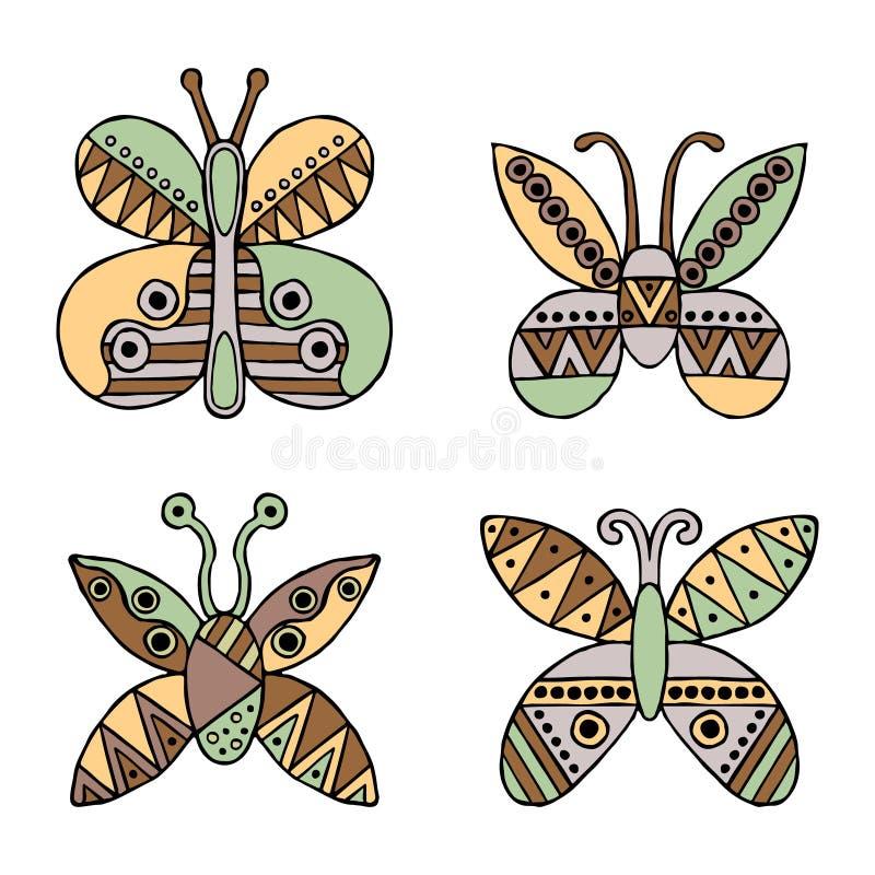 Σύνολο διανυσματικών συρμένων χέρι διακοσμητικών τυποποιημένων παιδαριωδών πεταλούδων Ύφος Doodle, γραφική απεικόνιση Διακοσμητικ διανυσματική απεικόνιση