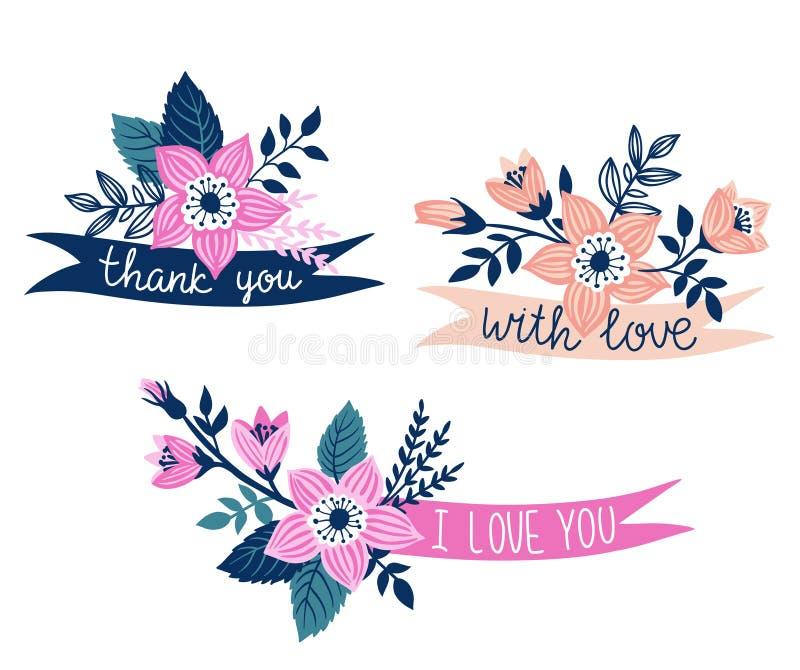 Σύνολο διανυσματικών συρμένων χέρι κορδελλών με τα λουλούδια και τις μοντέρνες φράσεις - & x27 σας ευχαριστούμε, με την αγάπη, αγ ελεύθερη απεικόνιση δικαιώματος