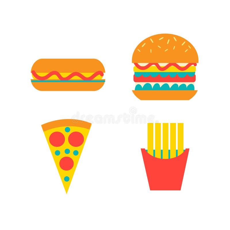 Σύνολο διανυσματικών τροφίμων γρήγορου φαγητού διανυσματική απεικόνιση