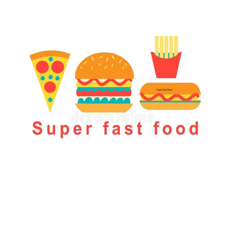 Σύνολο διανυσματικών τροφίμων γρήγορου φαγητού απεικόνιση αποθεμάτων