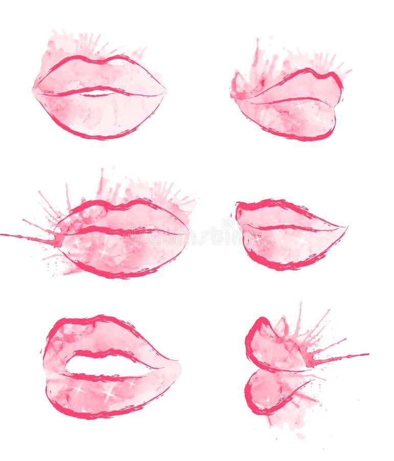 Σύνολο διανυσματικών χειλιών watercolor διανυσματική απεικόνιση