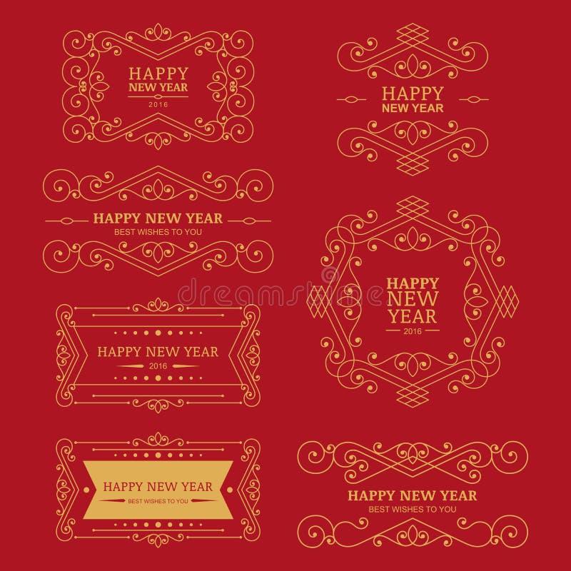 Σύνολο διανυσματικών χρυσών εκλεκτής ποιότητας νέων διακριτικών, ετικετών και σχεδίου έτους ελεύθερη απεικόνιση δικαιώματος