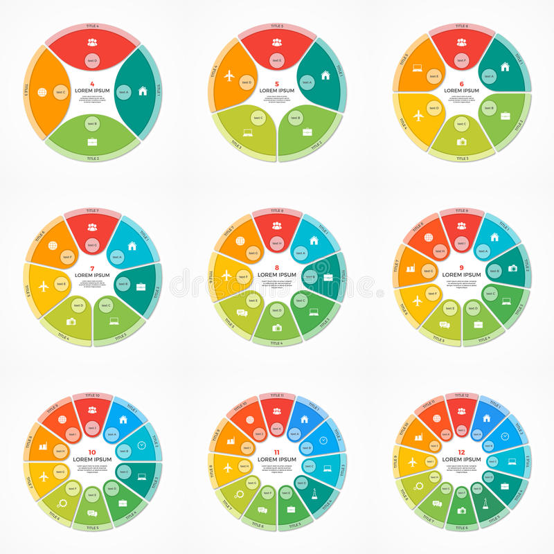 Σύνολο διανυσματικών infographic προτύπων κύκλων διαγραμμάτων πιτών με 4-12 επιλογές ελεύθερη απεικόνιση δικαιώματος