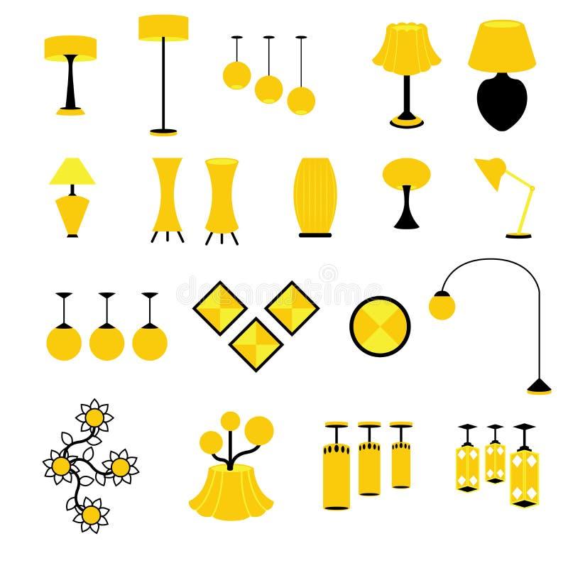 Σύνολο διανύσματα και εικονιδίων εξοπλισμού λαμπτήρων και φωτισμού ελεύθερη απεικόνιση δικαιώματος