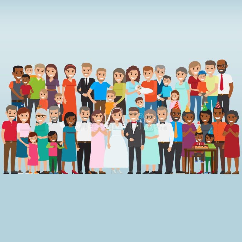 Σύνολο διανύσματος ανθρώπων οικογενειακών διακοπών εορτασμού ελεύθερη απεικόνιση δικαιώματος