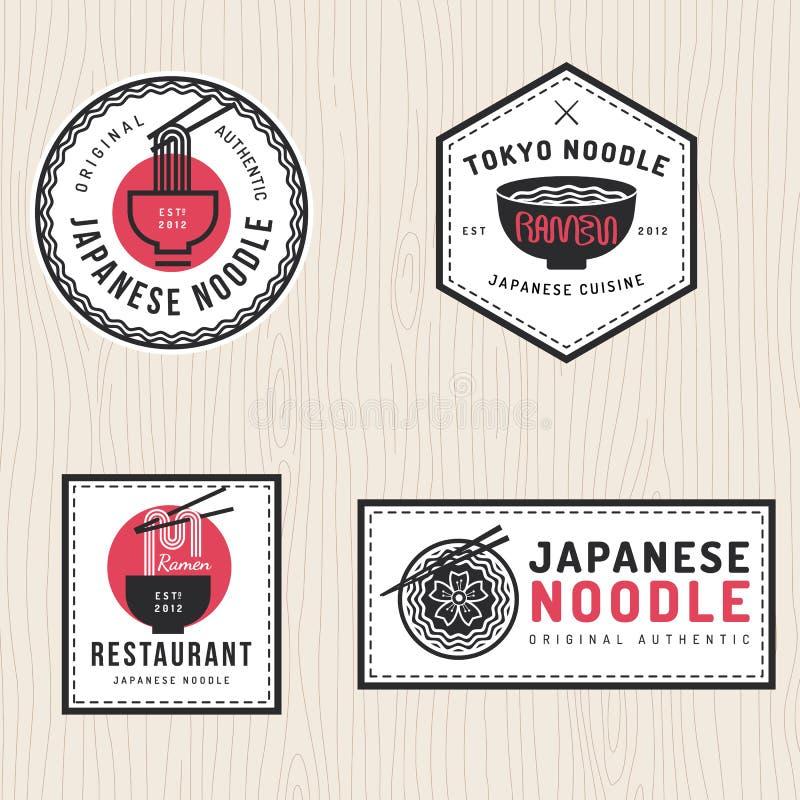 Σύνολο ιαπωνικού λογότυπου νουντλς, διακριτικά, εμβλήματα, ετικέτες, έμβλημα για το ασιατικό εστιατόριο τροφίμων διανυσματική απεικόνιση