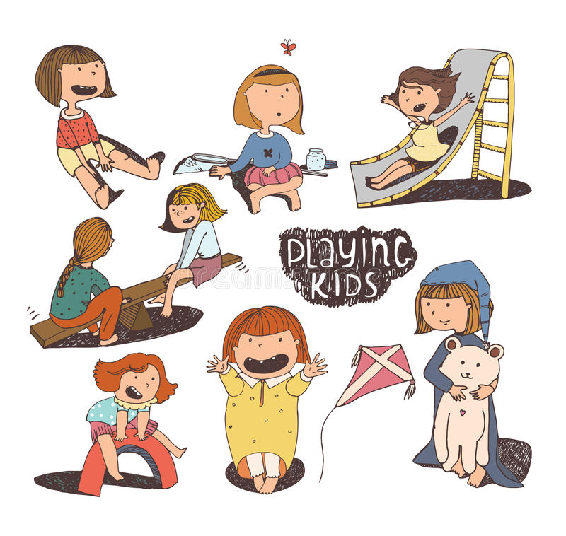 Σύνολο διασκέδασης και καλών απεικονίσεων παιδιών Κορίτσια που παίζουν υπαίθρια, χαμόγελο, αγκάλιασμα, που πηδά στην παιδική χαρά απεικόνιση αποθεμάτων