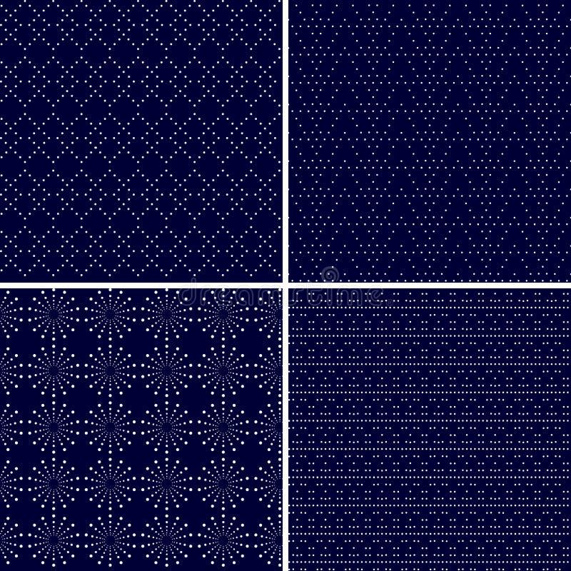 Σύνολο 4 διαστιγμένων διακοσμητικών σκούρο μπλε άνευ ραφής σχεδίων απεικόνιση αποθεμάτων