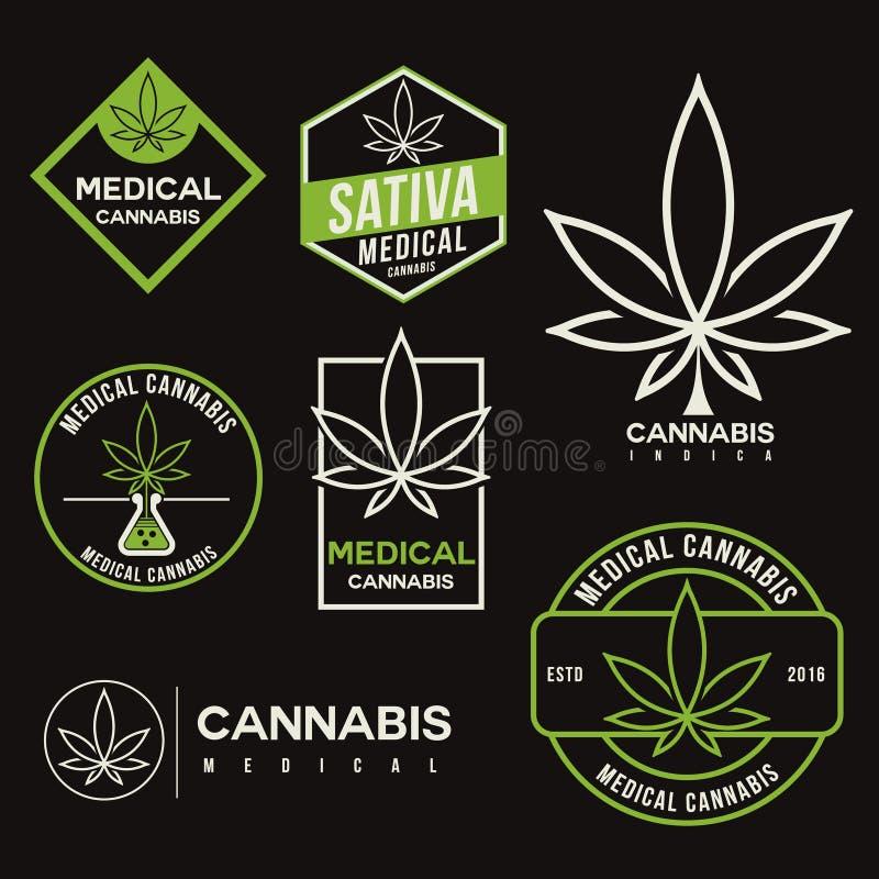 Σύνολο ιατρικών εμβλημάτων καννάβεων μαριχουάνα απεικόνιση αποθεμάτων