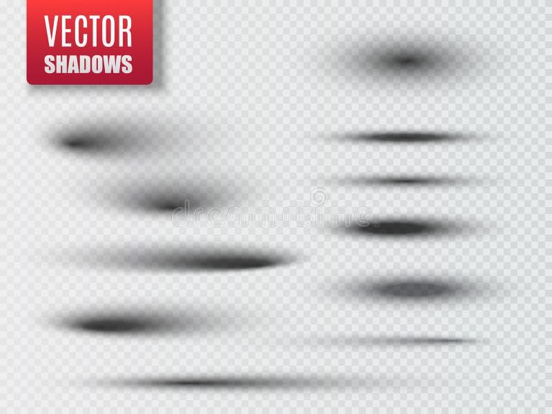 Σύνολο διαφανούς ωοειδούς σκιάς με τις μαλακές άκρες διάνυσμα διανυσματική απεικόνιση