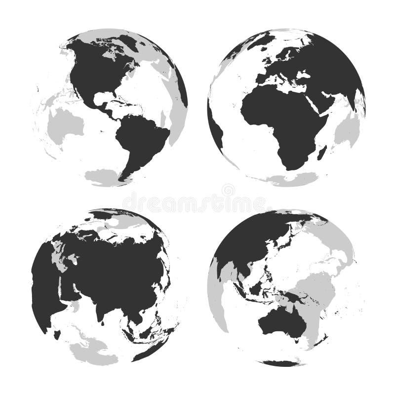 Σύνολο διαφανών γήινων σφαιρών με τον γκρίζο χάρτη σκιαγραφιών εδάφους επίσης corel σύρετε το διάνυσμα απεικόνισης διανυσματική απεικόνιση