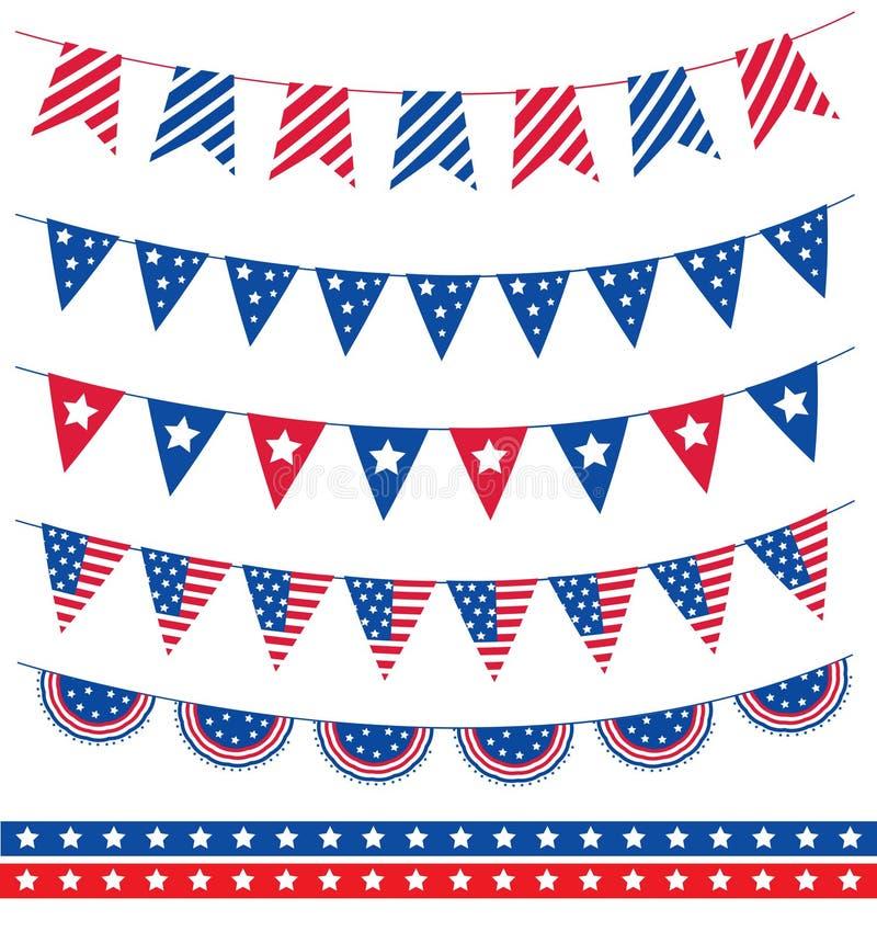 Σύνολο διαφορετικής γιρλάντας με τις κορδέλλες σημαιών 4$η αμερικανική ανεξαρτησία Ιούλιος ημέρας επίσης corel σύρετε το διάνυσμα διανυσματική απεικόνιση