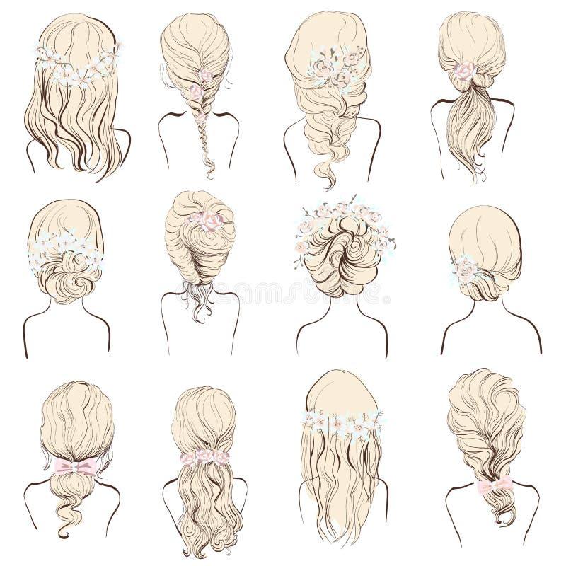 Σύνολο διαφορετικού γάμου hairstyles με τα λουλούδια για τα blondes ελεύθερη απεικόνιση δικαιώματος
