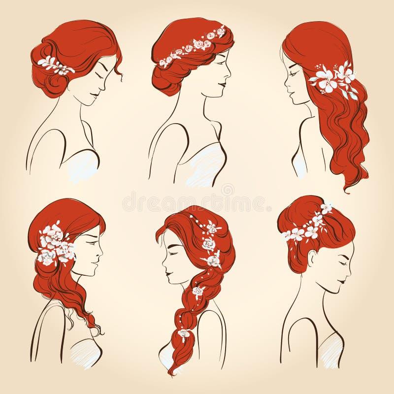 Σύνολο διαφορετικού γάμου hairstyles με τα λουλούδια για την κόκκινη τρίχα διανυσματική απεικόνιση