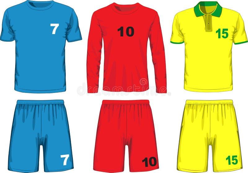 Σύνολο διαφορετικού ποδοσφαίρου ομοιόμορφο διάνυσμα απεικόνιση αποθεμάτων