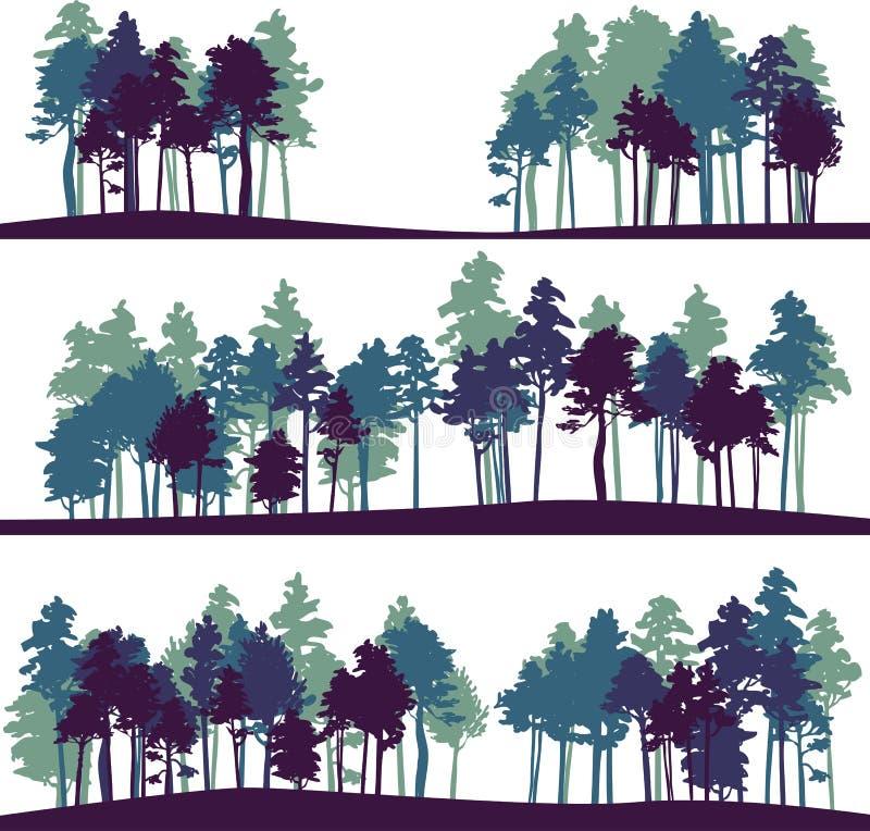 Σύνολο διαφορετικού τοπίου με τα δέντρα πεύκων διανυσματική απεικόνιση