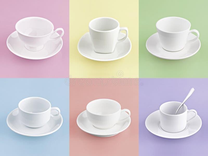 Σύνολο διαφορετικού φλιτζανιού του καφέ σε πολλοί χρώμα στοκ φωτογραφία