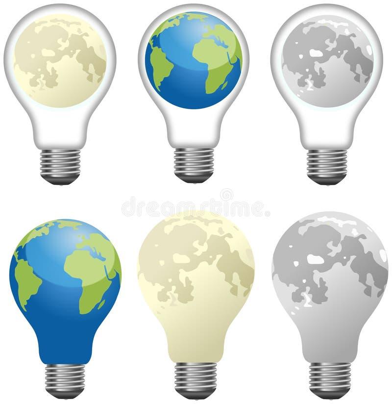 Σύνολο διαφορετικών λαμπών φωτός που σχεδιάζονται ως φεγγάρι και γη ελεύθερη απεικόνιση δικαιώματος