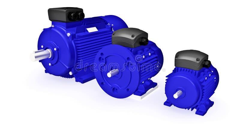 Σύνολο διαφορετικών βιομηχανικών ηλεκτρικών κινητήρων απεικόνιση αποθεμάτων