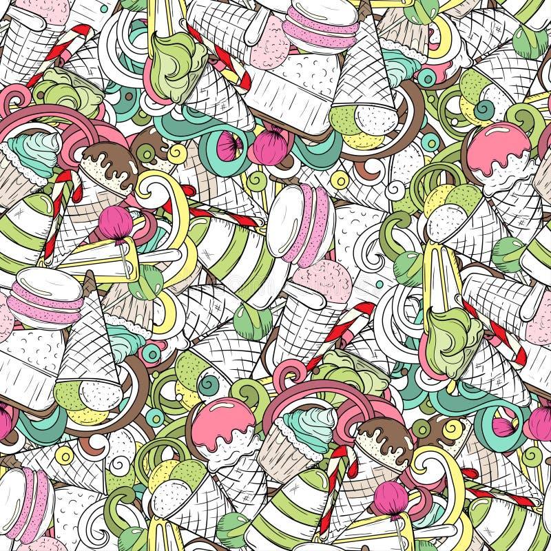 Σύνολο διαφορετικών γλυκών Άνευ ραφής σχέδιο doodle με το παγωτό, ελεύθερη απεικόνιση δικαιώματος