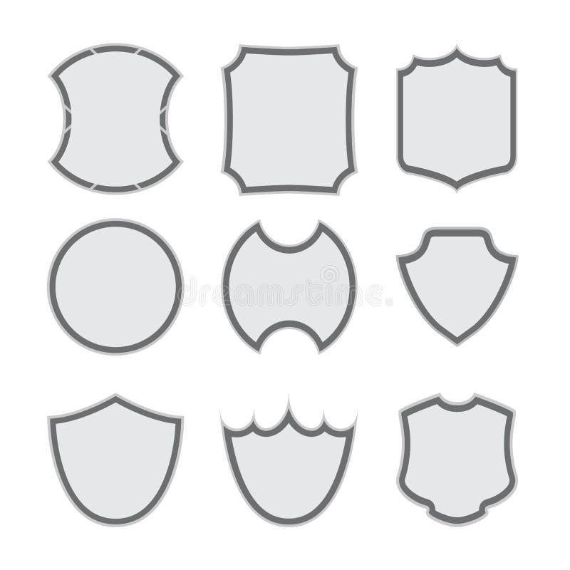 Σύνολο διαφορετικών εικονιδίων μορφών ασπίδων στοκ εικόνα