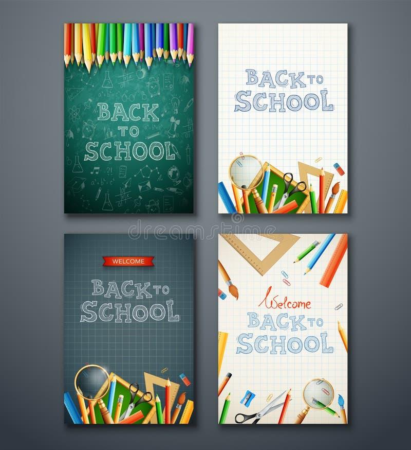 Σύνολο διαφορετικών κάθετων εμβλημάτων με τις σχολικές προμήθειες στοκ φωτογραφία